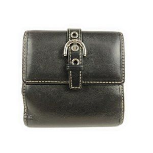 Coach Envelope Wallet Black Leather Bi-fold Buckle